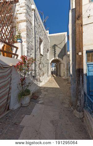 Street in City of Ermopoli, Syros, Cyclades Islands, Greece