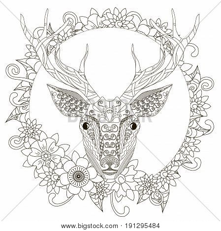 Monochrome doodle hand drawn deer in flowers frame. Anti stress stock vector illustration