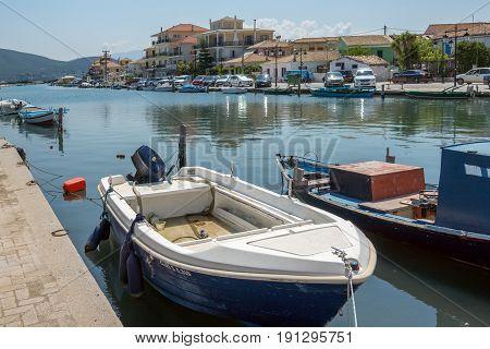 LEFKADA TOWN, GREECE JULY 16, 2014: Panoramic view of Lefkada town, Ionian Islands, Greece