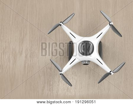 Unmanned aerial vehicle on wood background - top view, 3D illustration