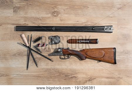 Old Double-barreled Shotgun, Disassembled, Gun Cleaning Set, Oiler, Ramrod