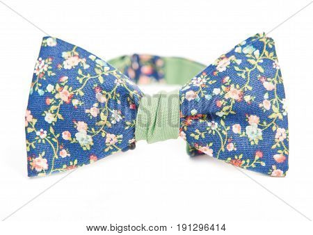 flower pattern on blue background bow tie, for male or female.