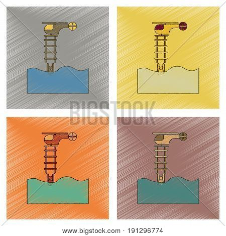 assembly flat shading style icon of people in water Helicopter