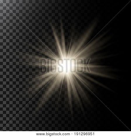 Vector illustration of a glowing light effect with rays and lens flares isolated on a dark translucent background