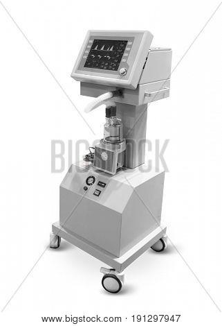 Modern hospital equipment on white background
