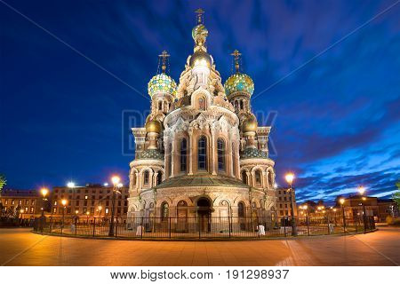 Cathedral of Resurrection (Savior on blood) on the May night. Saint Petersburg, Russia