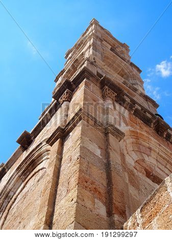 bell tower of the Church of Panagia in Lindos rhodes
