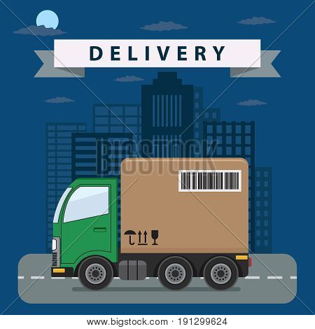 Delivery truck drive on the road in the night. Fast delivery service concept.
