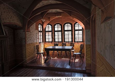 RONNEBURG, GERMANY-JUNE 15, 2017: A room in the Ronneburg in the Wetterau, Hesse, Germany
