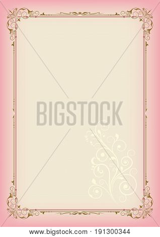 Color rectangular ornate frame and floral element on light background, page decoration. A3 page proportions.