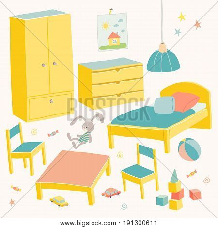 Set of furniture for children room. Kids small furniture.Bed, table with children's chairs, wardrobe and chest. Hand drawn cartoon illustration on white background. Baby shower design elements