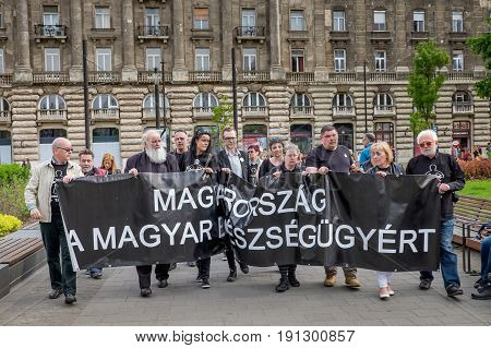 Budapest, Hungary - Avril 15, 2016: Demonstration Against The Hungarian Government