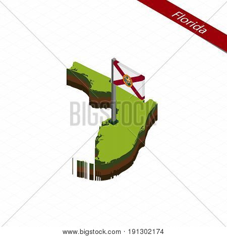 Florida Isometric Map And Flag. Vector Illustration.
