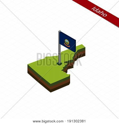 Idaho Isometric Map And Flag. Vector Illustration.