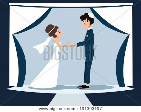 young jewish couple at chuppah - funny vector cartoon illustration