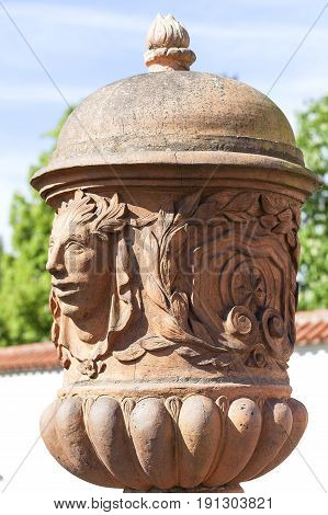 Troja Palace mythical terracotta vase, Prague, Czech Republic. It is a Baroque palace located in Troja Prague's district. Built in the 17th century currently the palace is owned by the city of Prague