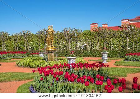 Petergof, Russia - June 5, 2017: Chinese garden in the bath complex. The lower park of the Petergof Palace. A miniature landscape garden was broken up for the Empress Maria Alexandrovna. Saint-Petersburg,