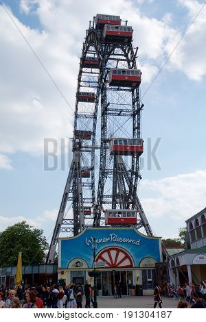 VIENNA, AUSTRIA - APR 30th, 2017: Famous and historic Ferris Wheel of vienna prater park called Wurstelprater during a cloudy day.