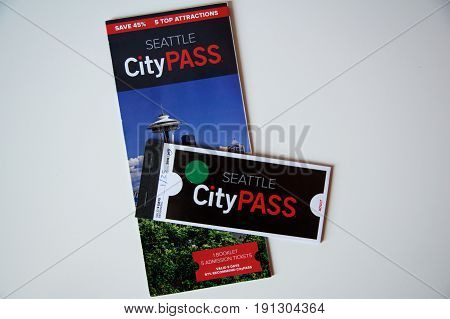 SEATTLE, WASHINGTON, USA - JAN 25th, 2017: See Seattle's top attractions, hand-picked and packaged into one convenient booklet with the CityPASS.