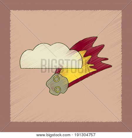 flat shading style icon of falling meteorite