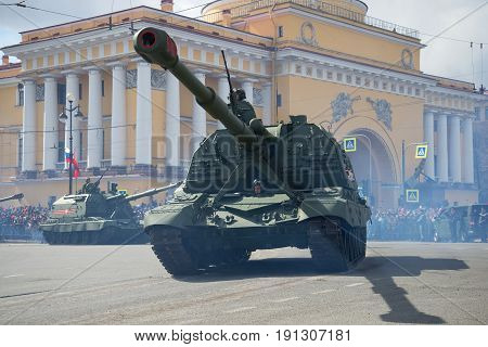 SAINT PETERSBURG, RUSSIA - MAY 09, 2017: Heavy self-propelled artillery