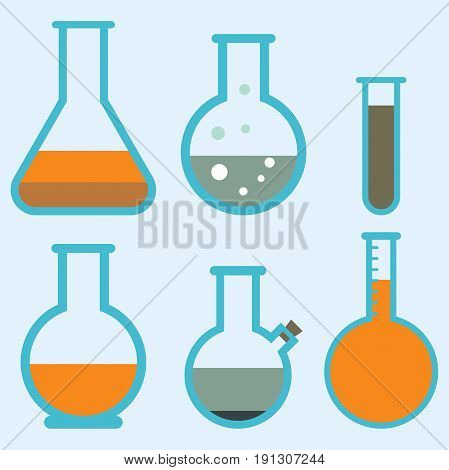 Lab flask test medical laboratory scientific biology design molecule concept and biotechnology science chemistry icons vector illustration. Experiment research equipment.