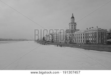 Winter snow morning and Curiosities in Saint-Petersburg