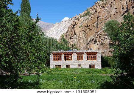 Traditional house in a small village of Ladakh, India