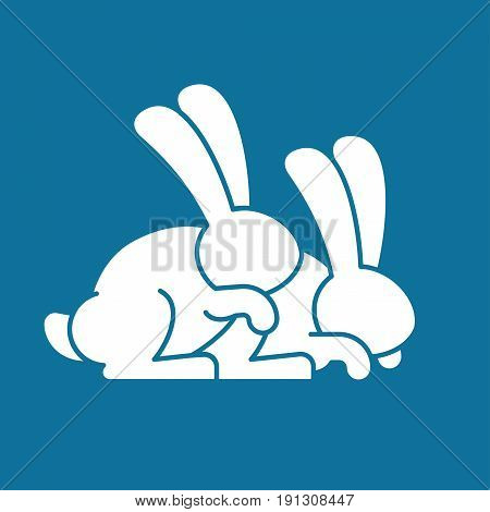 Bunny Sex. Rabbit Intercourse. Hares Isolated. Animal Reproduction