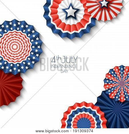4th of July USA Independence Day. Vector paper stars in USA flag colors. Abstract white background with place for text. Material design concept for greeting card banner layout flyer poster.