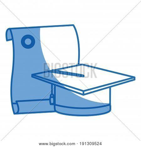 graduation cap and diploma college degree vector illustration
