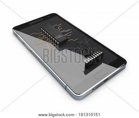 Transistors On The Phone Screen, Concept Of Electronic Components. Isolated On White Background. 3D