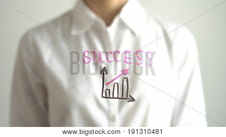 Woman wrote increase diagram with red up arrow and Success on transparent screen. Businesswoman write on board. Business concept. 4K