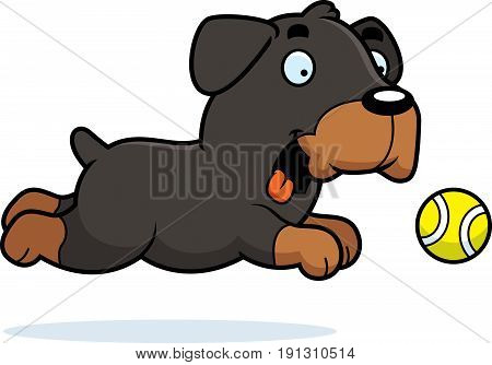 A cartoon illustration of a Rottweiler chasing a ball.