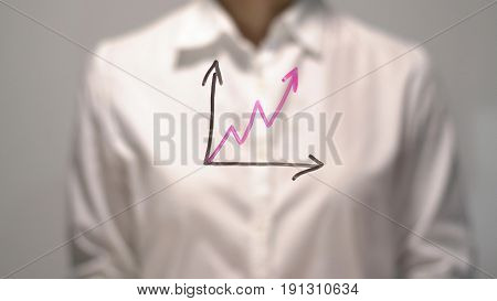Woman drew Gradual Rise diagram with red up arrow on transparent screen. Businesswoman write on board. Business success concept.