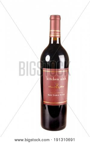 Colbert, WA - April 23, 2017: Bottle of Kitchen Sink California Red Wine isolated on white - illustrative editorial
