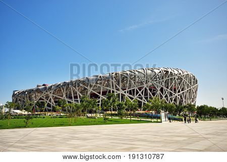 Beijing, China - September 21, 2009: Exterior Of Beijing National Olympic Stadium Also Known As Bird