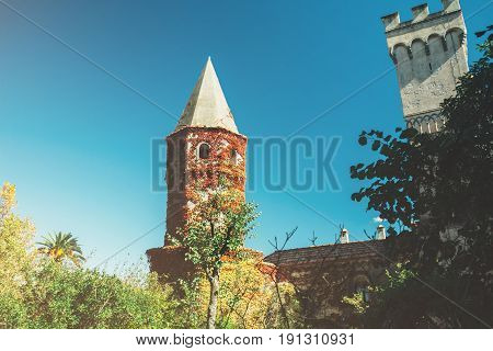 Colorful toned tower in Villa Chimbrone with blue sky on the background in October Ravello Campania Italy