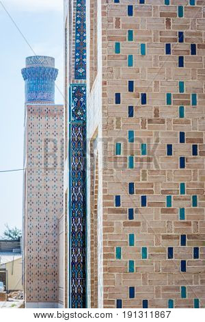 Wall With Blue Tiles Pattern