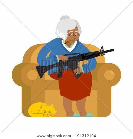 African American Grandmother With Gun. Old Woman In An Armchair With Tommy Gun And Cat. Grandma With