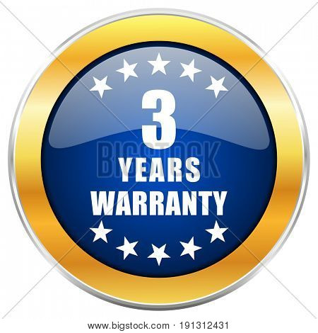 Warranty guarantee 3 year blue web icon with golden chrome metallic border isolated on white background for web and mobile apps designers.
