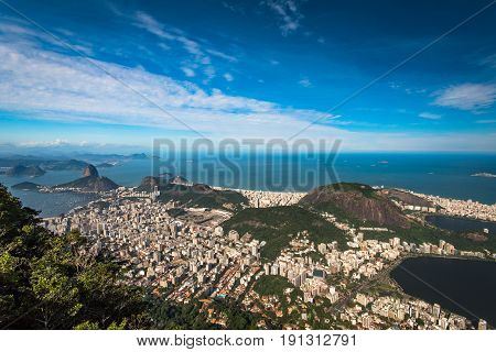 Panoramic View of Rio de Janeiro South Zone From the Corcovado Mountain
