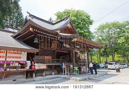 MARIOKA JAPAN - MAY 22 2017: Sakurayama Shinto Shrine in Marioka Japan. Located on the grounds of former Marioka Castle