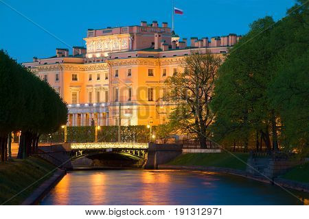 Engineer (Mikhailovsky) castle and the Moika river in the May twilight. Saint-Petersburg. Russia