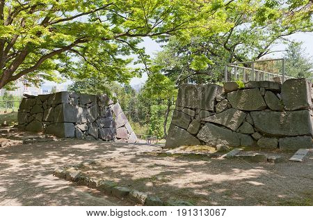 MARIOKA JAPAN - MAY 22 2017: Place of former gate of Marioka castle constructed in 1633 and dismantled in 19th c. Today is National Historic Site of Japan and part of Iwate Park