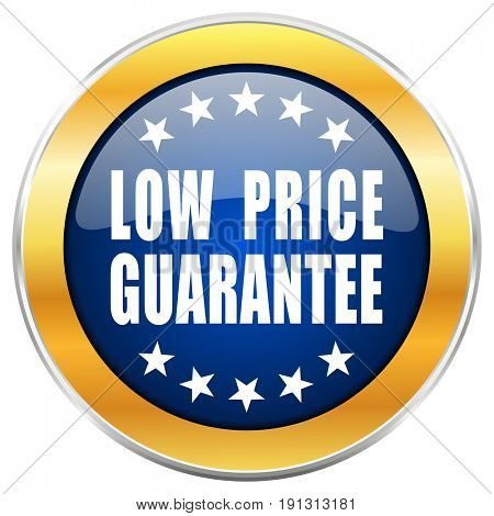 Low price guarantee blue web icon with golden chrome metallic border isolated on white background for web and mobile apps designers.