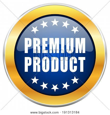 Premium product blue web icon with golden chrome metallic border isolated on white background for web and mobile apps designers.