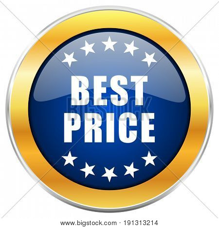 Best price blue web icon with golden chrome metallic border isolated on white background for web and mobile apps designers.