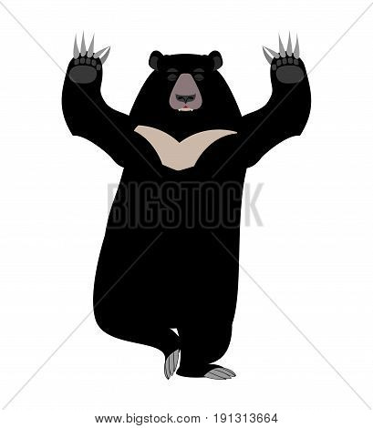 Himalayan Bear Yoga. Yogi Wild Animal Emoji. Black Big Beast