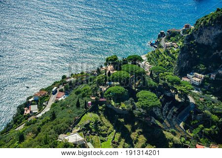 Scenic picture-postcard view of the mountains of the Amalfi Coast Ravello Campania Italy